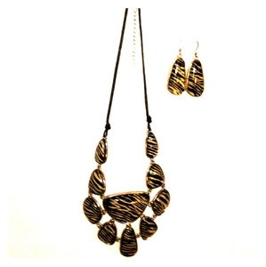 Zebra Striped Statement Necklace & Earrings